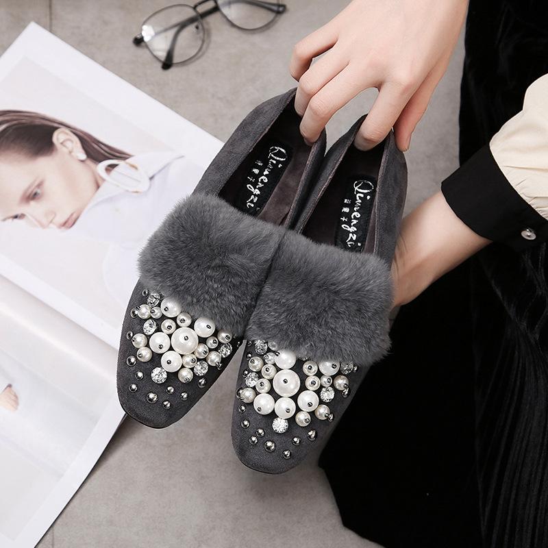 新款磨砂绒面女鞋 绒面女平底鞋 方头浅口平跟珍珠女平底鞋