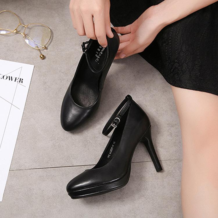新款纯色高跟鞋 舒适圆头细跟浅口单鞋通勤女鞋真皮女单鞋 高端定制款 7天左右发货