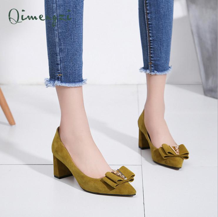 春季单鞋女 欧美时尚粗跟高跟鞋 尖头羊绒品牌女鞋春季高跟鞋